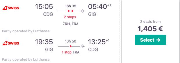 Swiss Business Class nach Rio