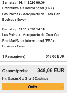Gran Canaria Angebot in der Business Class