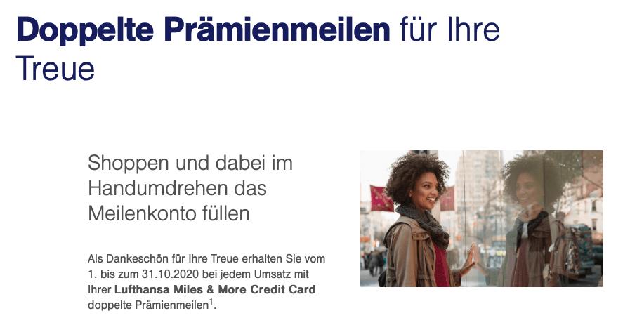 Doppelte Prämienmeilen mit der Miles & More Kreditkarte