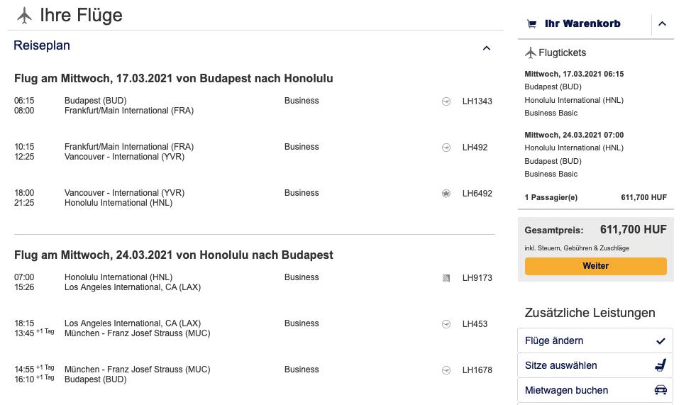 Lufthansa Business Class nach Hawaii