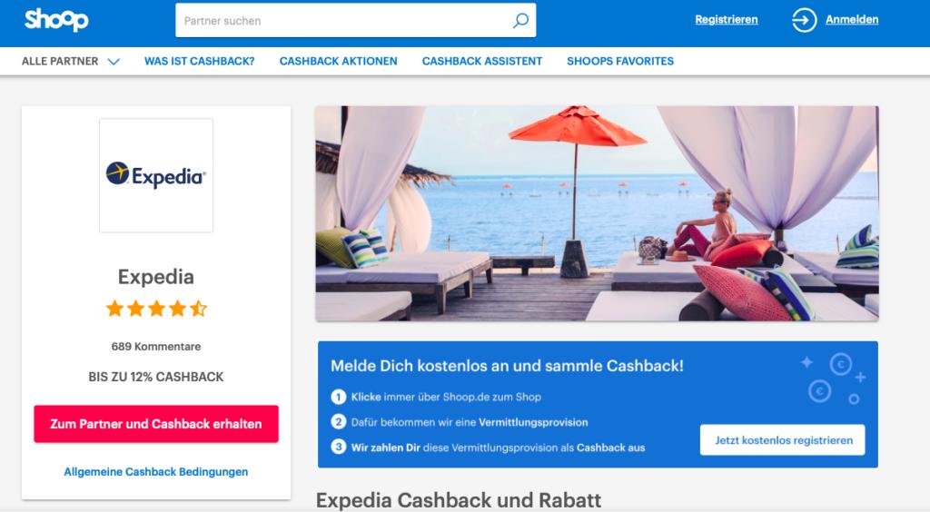 Cashback mit Shoop und Expedia für die nächste Hotelübernachtung