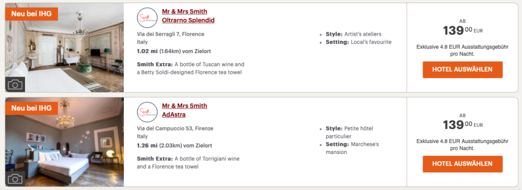 Mr & Mrs Smith Hotels in Florenz