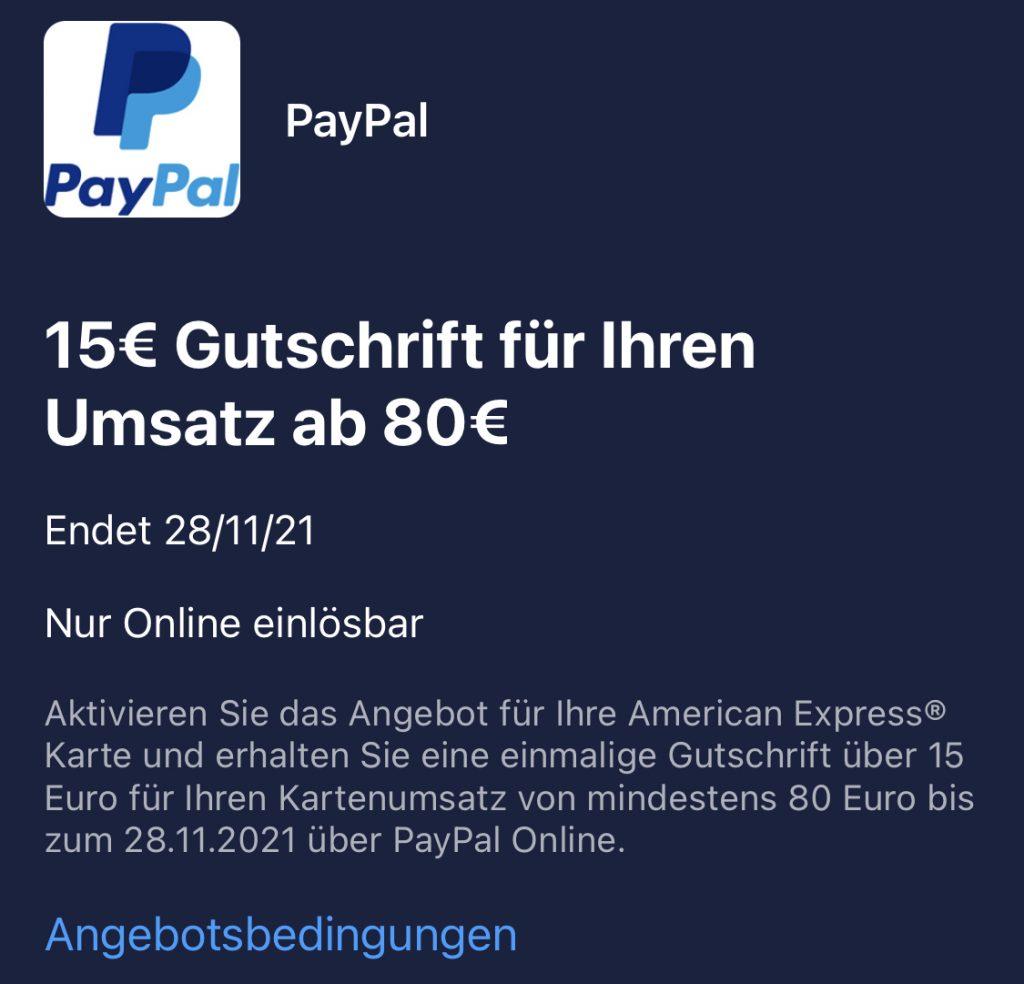 15 Euro Gutschrift durch Paypal-Zahlung
